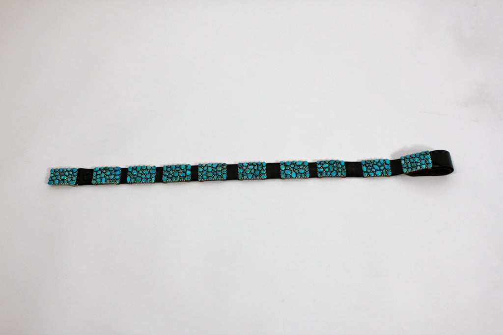 Modernist Turquoise Leather Belt set in Sterling Silver 4
