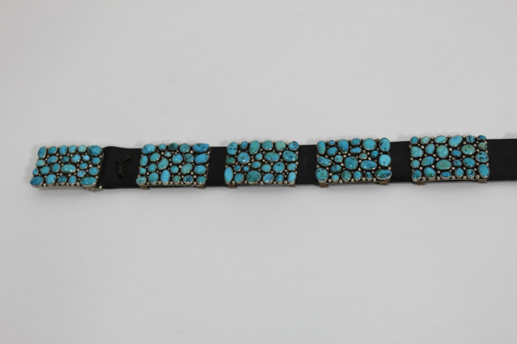 Modernist Turquoise Leather Belt set in Sterling Silver 5