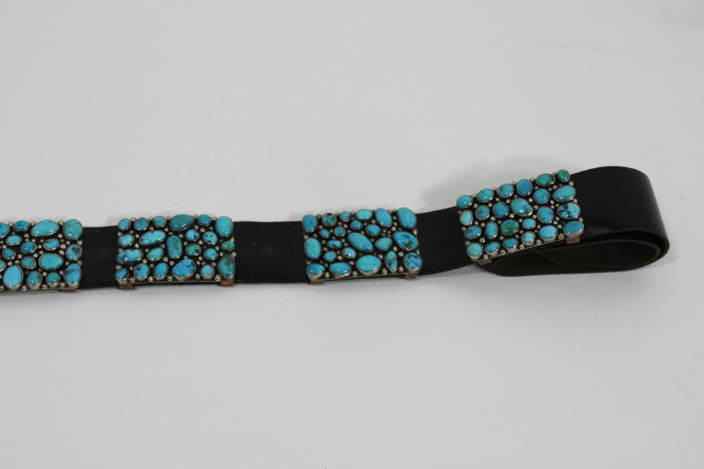 Modernist Turquoise Leather Belt set in Sterling Silver 6