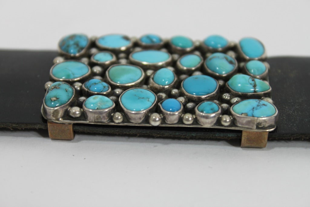 Modernist Turquoise Leather Belt set in Sterling Silver 7