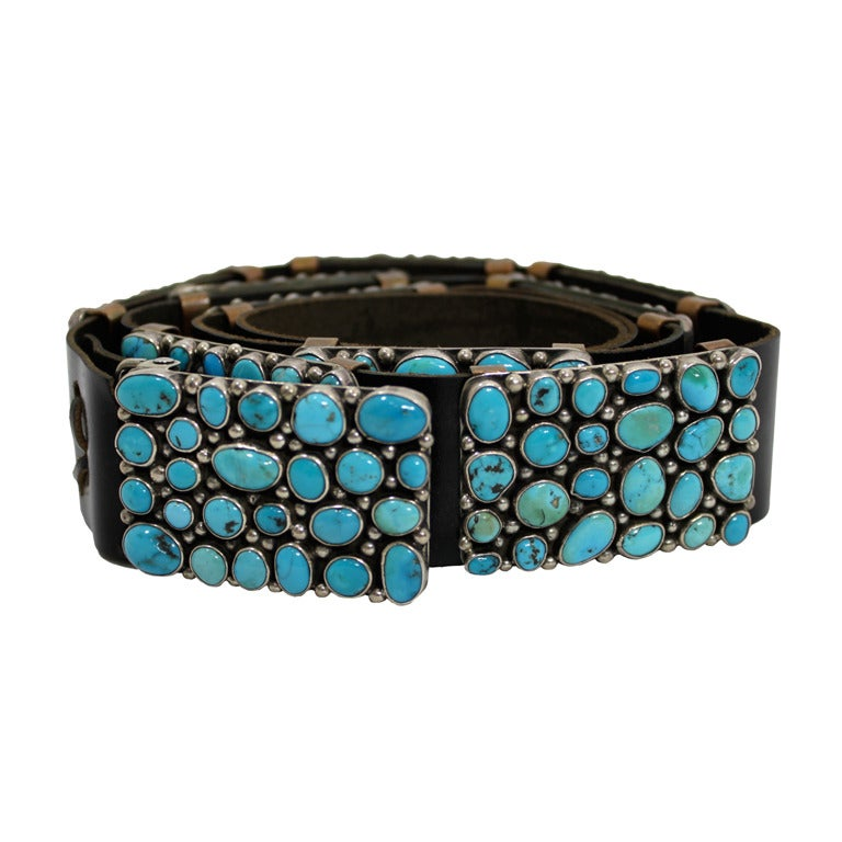 Modernist Turquoise Leather Belt Set In Sterling Silver At