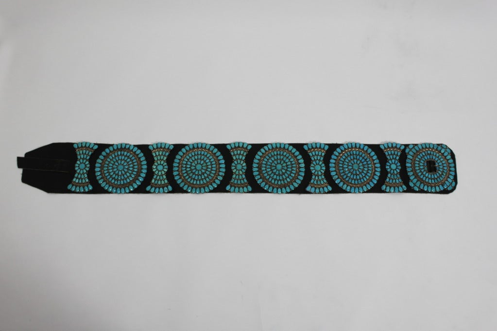 Zuni Sterling Silver with Natural Turquoise Concha Belt 2