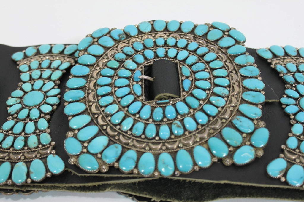 Zuni Sterling Silver with Natural Turquoise Concha Belt 3