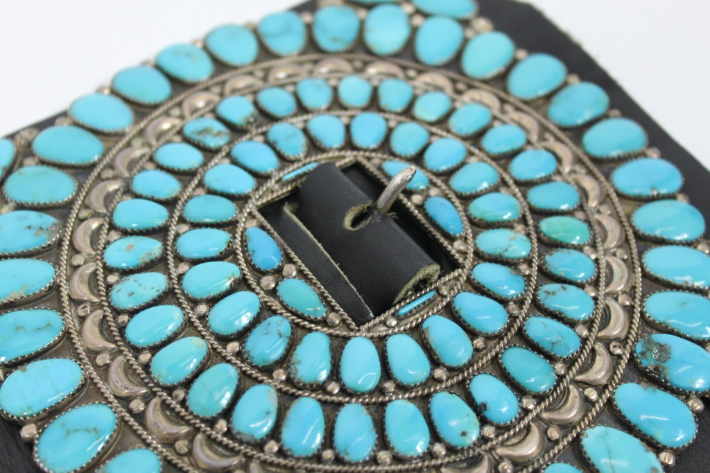 Zuni Sterling Silver with Natural Turquoise Concha Belt 4