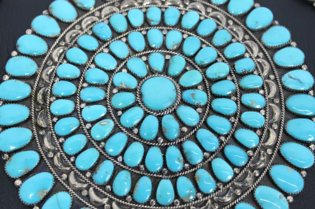 Zuni Sterling Silver with Natural Turquoise Concha Belt 5