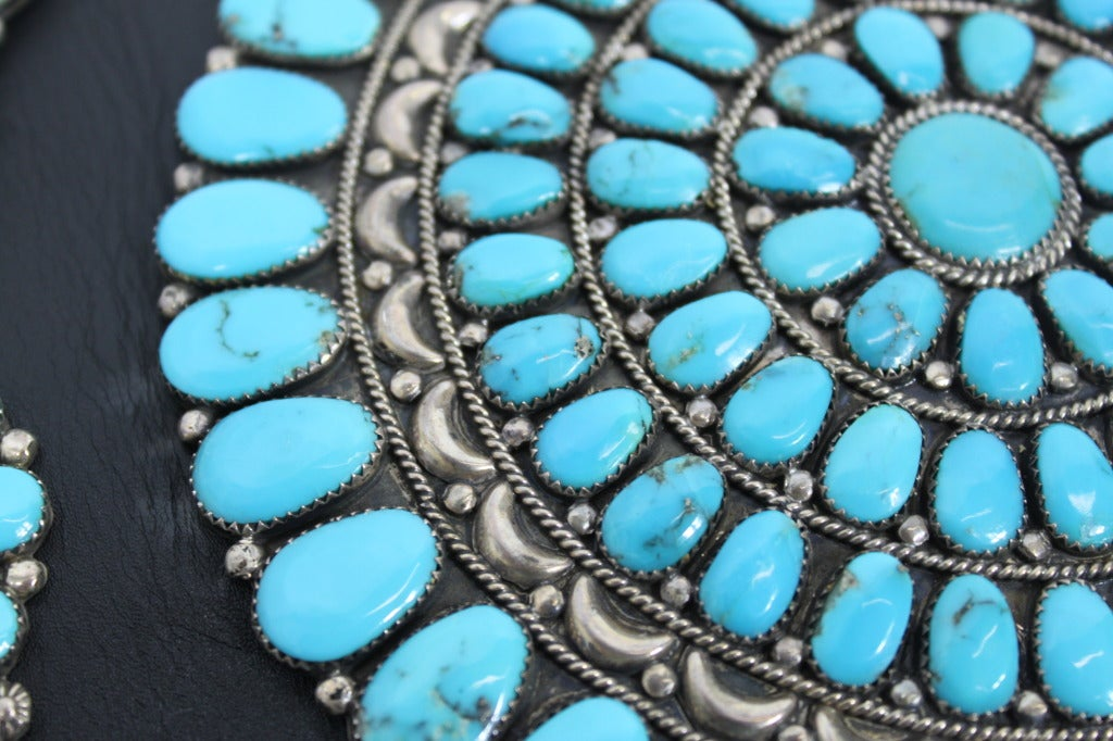 Zuni Sterling Silver with Natural Turquoise Concha Belt 6