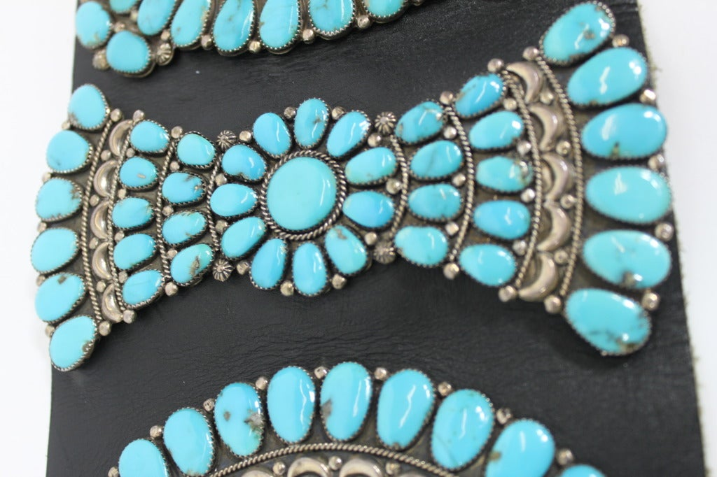 Zuni Sterling Silver with Natural Turquoise Concha Belt 8