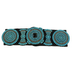 Zuni Sterling Silver with Natural Turquoise Concha Belt