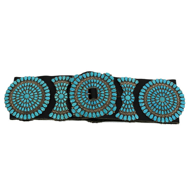 Zuni Sterling Silver with Natural Turquoise Concha Belt 1