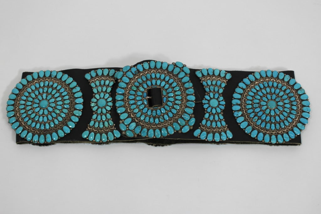 Zuni Sterling Silver with Natural Turquoise Concha Belt 10