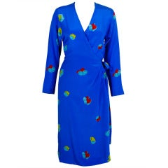 Halston 1970s Royal Blue Silk Wrap Dress with Graphic Floral Print