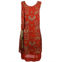 1920s Deep Crimson Flapper Dress with Embroidered Gold Lamé