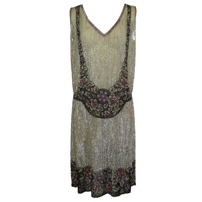1920s Iridescent Sequin Trompe L Oeil Floral Party Dress