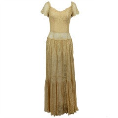1960s CHANEL Couture Ivory Lace Tiered Gown
