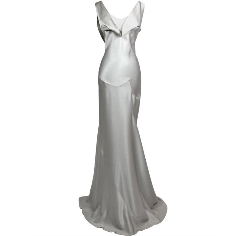 John Galliano Pewter Bias Gown 1