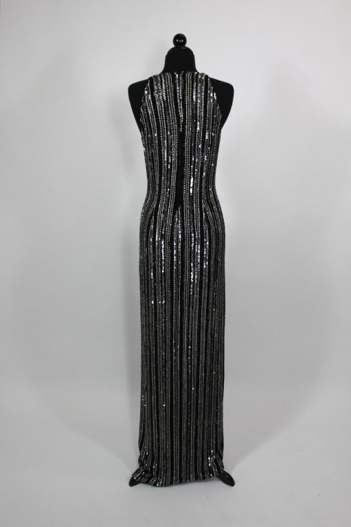 balestra black and silver beaded gown with