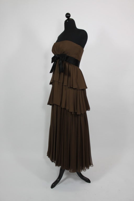 Sarmi 1960s Rich Chocolate Brown Tiered Chiffon Gown 2