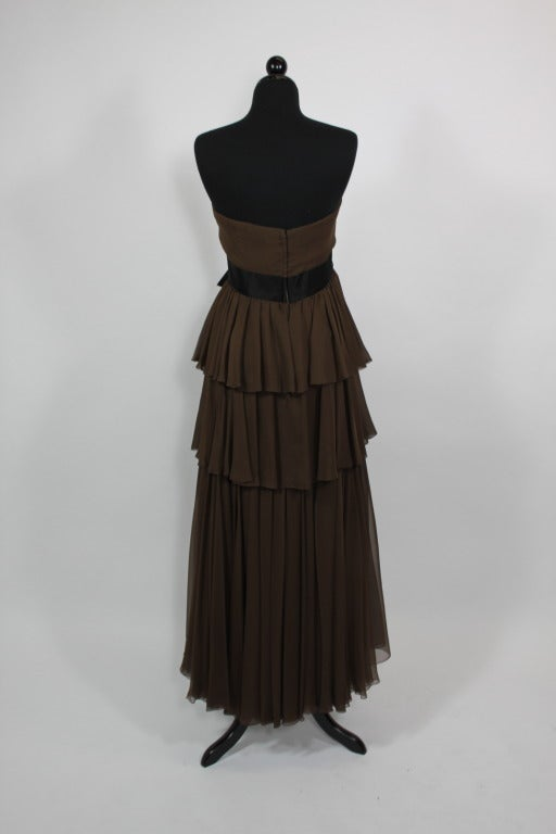 Sarmi 1960s Rich Chocolate Brown Tiered Chiffon Gown 3