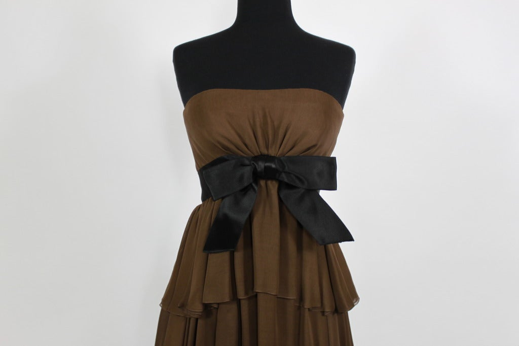 Sarmi 1960s Rich Chocolate Brown Tiered Chiffon Gown 4