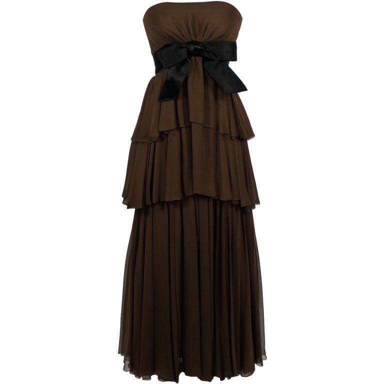 Sarmi 1960s Rich Chocolate Brown Tiered Chiffon Gown 1