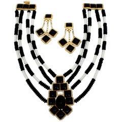 William de Lillo 1960s Black & White Collar Necklace with Earrings
