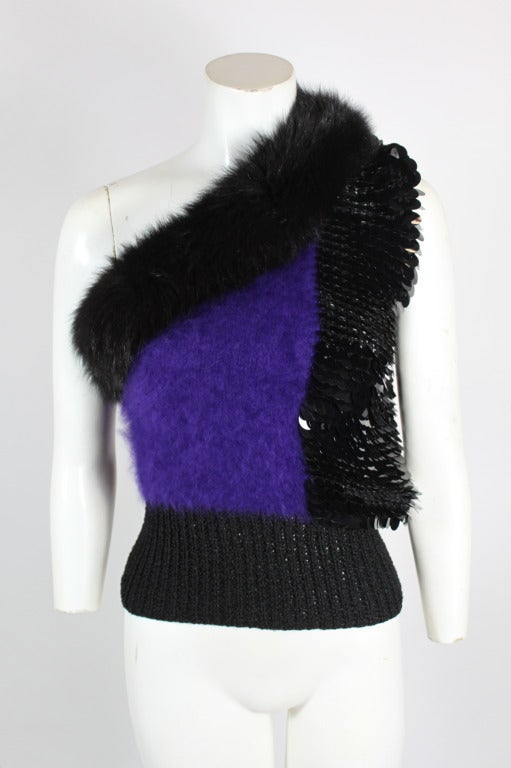 Revillon 1980s Asymmetrical Mink & Angora Sweater with Paillettes 2