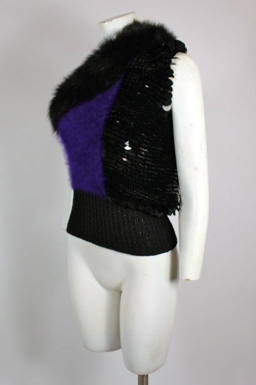 Revillon 1980s Asymmetrical Mink & Angora Sweater with Paillettes 3