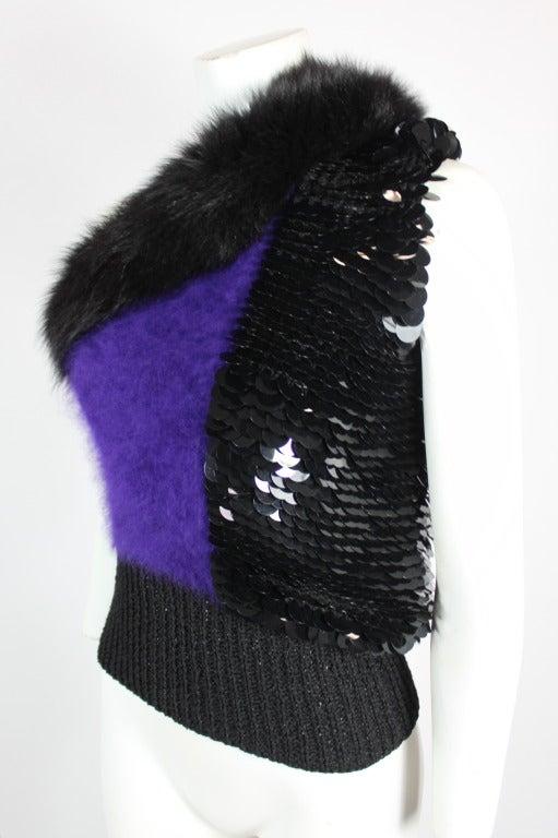 Revillon 1980s Asymmetrical Mink & Angora Sweater with Paillettes 4