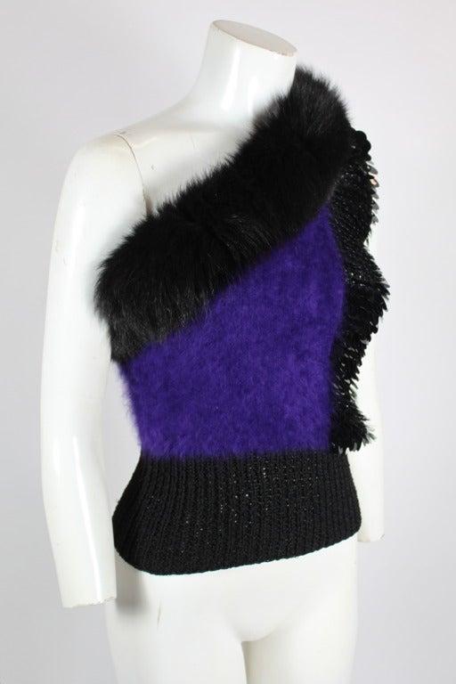 Revillon 1980s Asymmetrical Mink & Angora Sweater with Paillettes 5