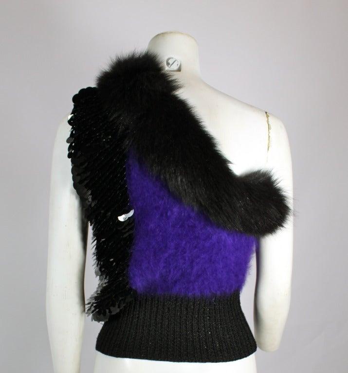 Revillon 1980s Asymmetrical Mink & Angora Sweater with Paillettes 8