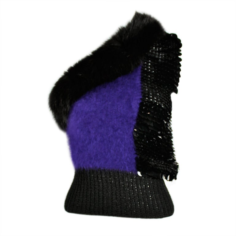 Revillon 1980s Asymmetrical Mink & Angora Sweater with Paillettes 1
