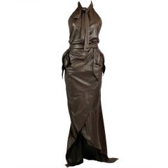 1990s Nina Ricci Rich Chocolate Brown Leather Halter Gown