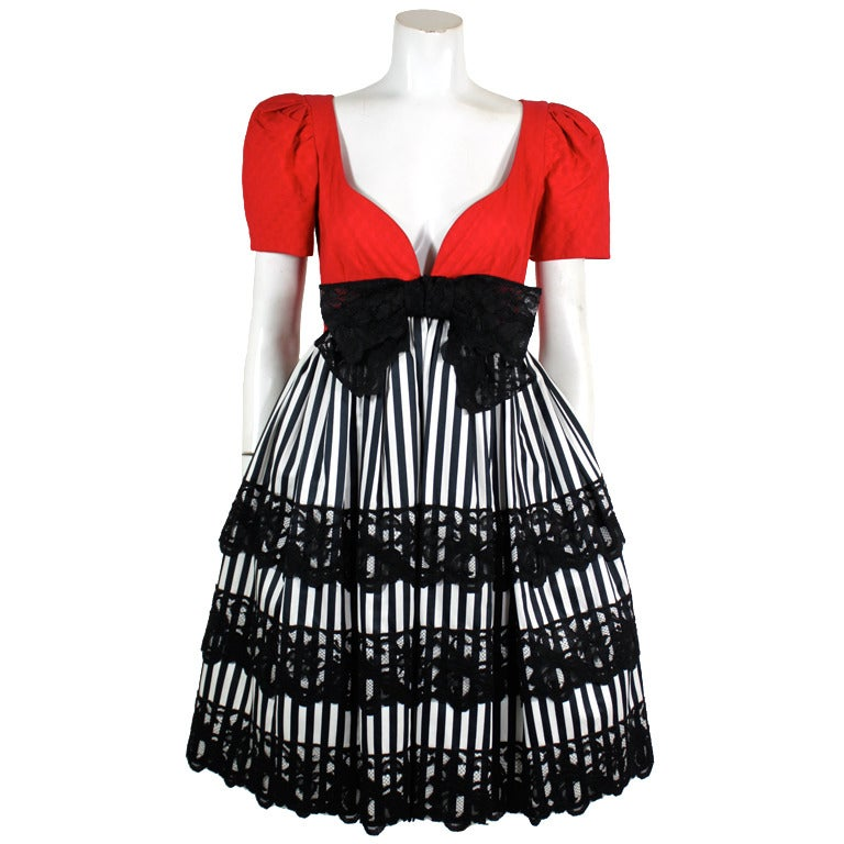 1980s adele simpson striped party dress at 1stdibs for Costume jewelry for evening gowns