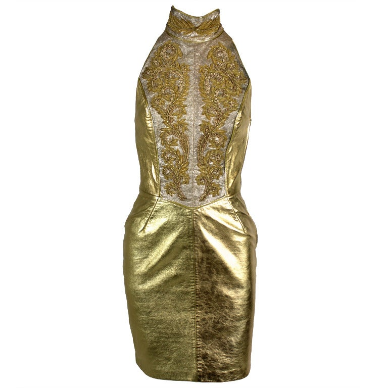 1980s north beach leather gold embellished halter dress for Costume jewelry for evening gowns