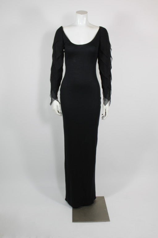Galanos 1990s Black Jersey Gown with Tiered Chiffon Petal Sleeves 2
