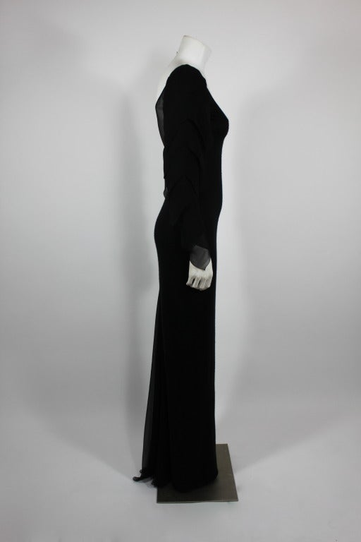 Galanos 1990s Black Jersey Gown with Tiered Chiffon Petal Sleeves 3