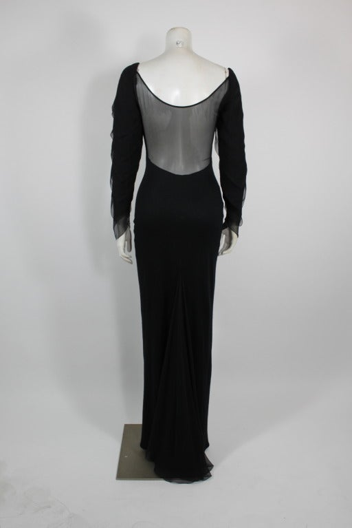 Galanos 1990s Black Jersey Gown with Tiered Chiffon Petal Sleeves 4
