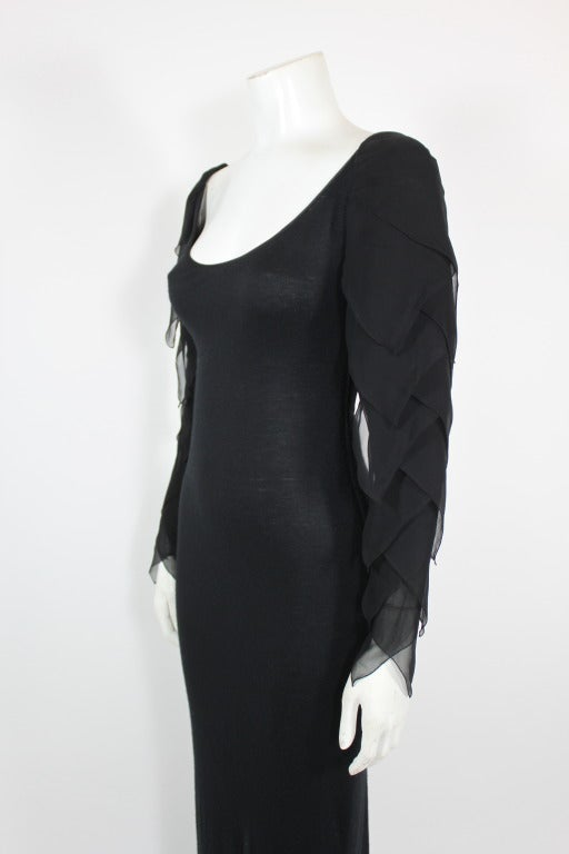 Galanos 1990s Black Jersey Gown with Tiered Chiffon Petal Sleeves 5