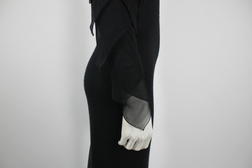 Galanos 1990s Black Jersey Gown with Tiered Chiffon Petal Sleeves 6