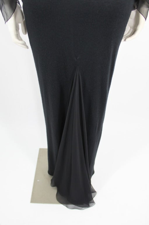 Galanos 1990s Black Jersey Gown with Tiered Chiffon Petal Sleeves 8