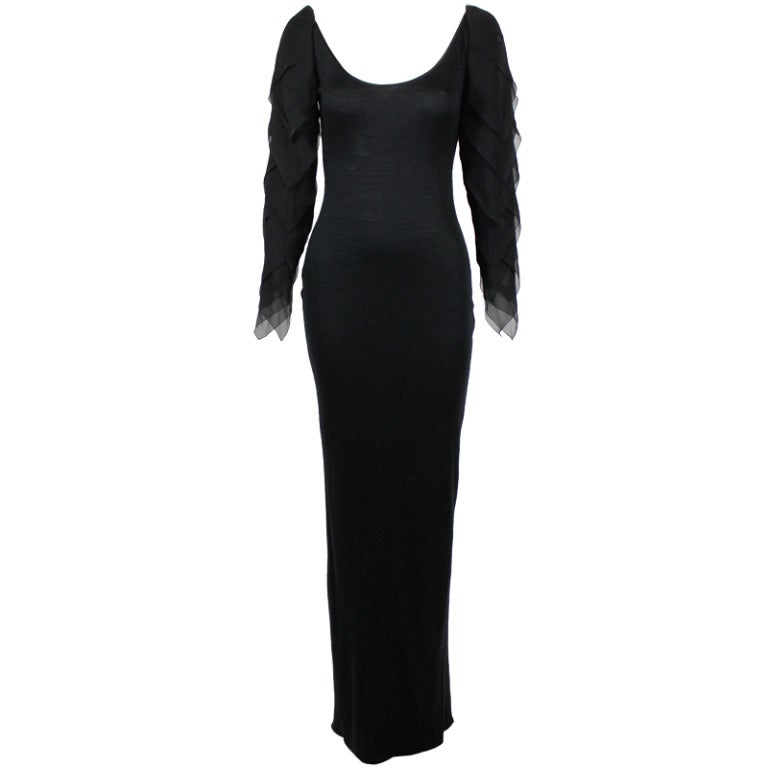 Galanos 1990s Black Jersey Gown with Tiered Chiffon Petal Sleeves 1