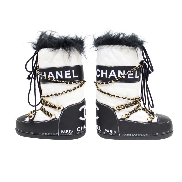 Chanel Quilted Snow Boots