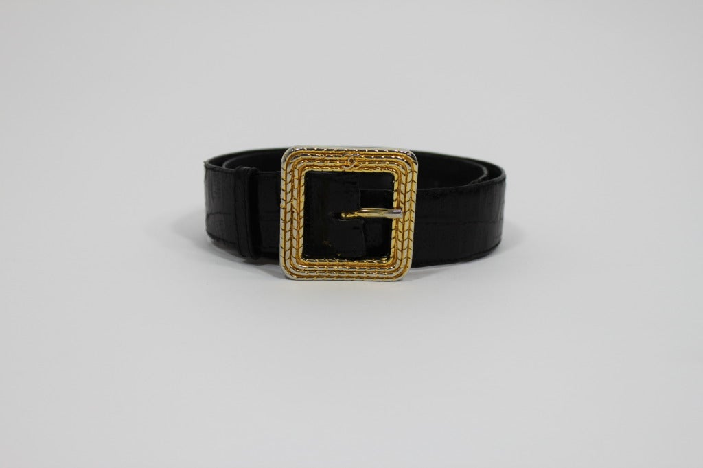 Chanel 1980s Black Leather Belt with Classic Gold Logo Buckle 3