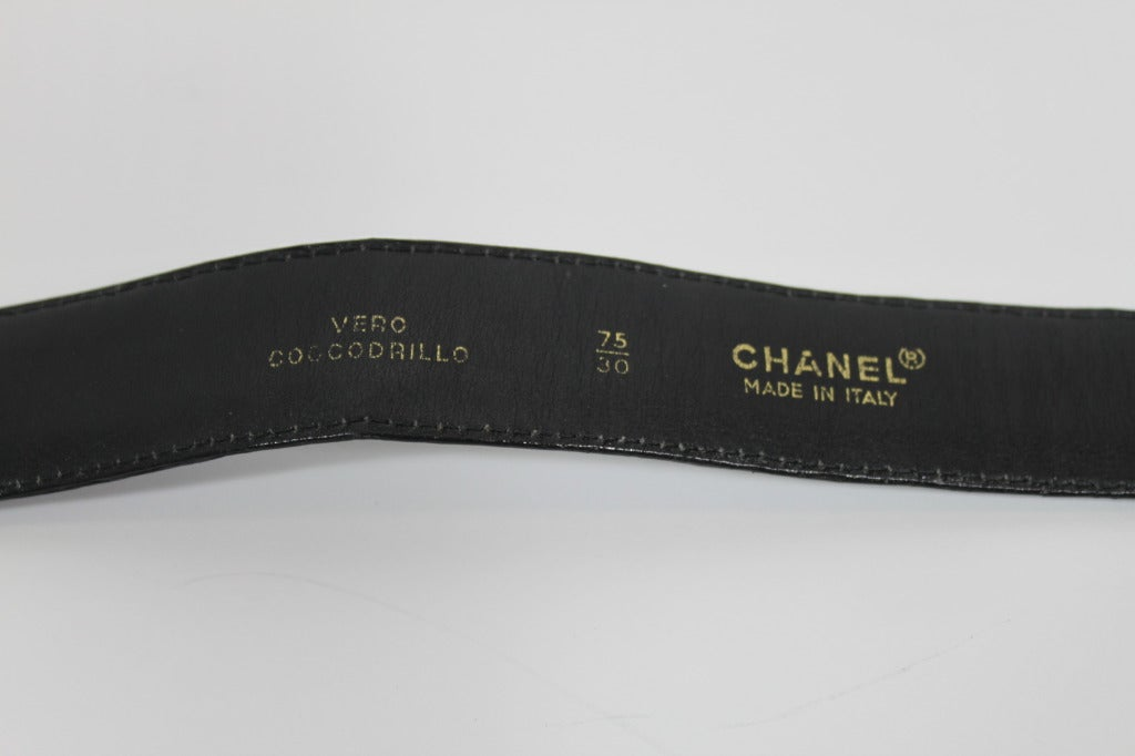 Chanel 1980s Black Leather Belt with Classic Gold Logo Buckle 6