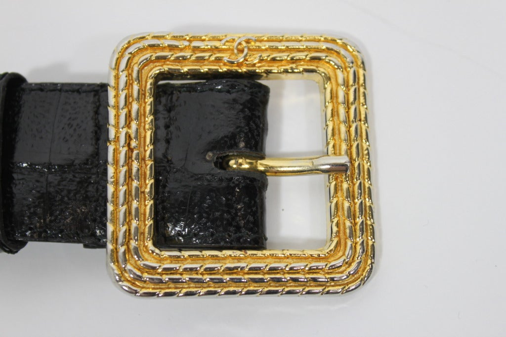 Chanel 1980s Black Leather Belt with Classic Gold Logo Buckle 7