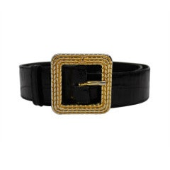 Chanel 1980s Black Leather Belt with Classic Gold Logo Buckle