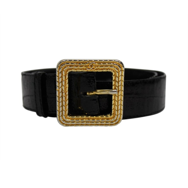 Chanel 1980s Black Leather Belt with Classic Gold Logo Buckle 1
