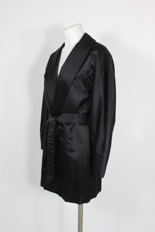 Halston 1970s Black Satin Smoking Style Evening Jacket 2