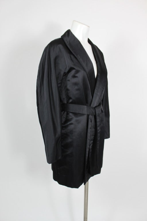 Halston 1970s Black Satin Smoking Style Evening Jacket 3