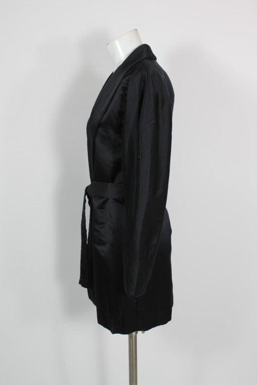 Halston 1970s Black Satin Smoking Style Evening Jacket 4